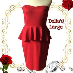 Large red delia's form fitting dress